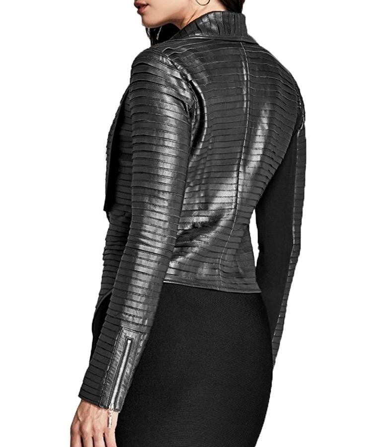 Riverdale Black Leather Pleated Jacket
