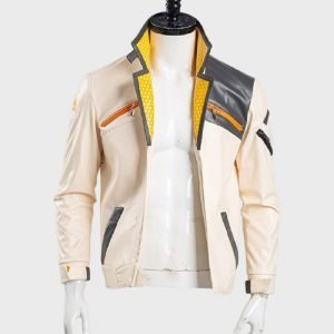 Valorant White Leather Fiery Jacket
