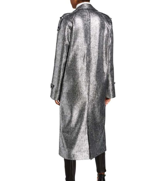 Dynasty S03 Fallon Carrington Silver Metallic Coat