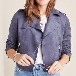 Jessica Davis Grey Moto Jacket