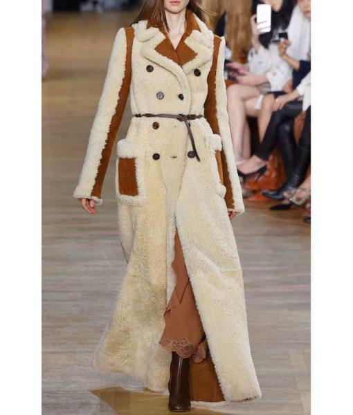 Camila Shearling Double-Breasted Long Coat