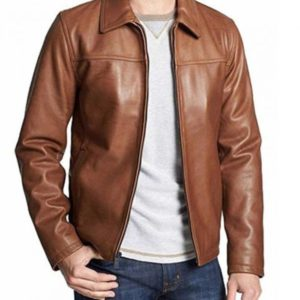 Mens Brown Casual Smiple Shirt Collar Leather Jacket