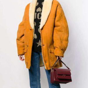 Scarlett Suede Shearling Mid-Length Coat
