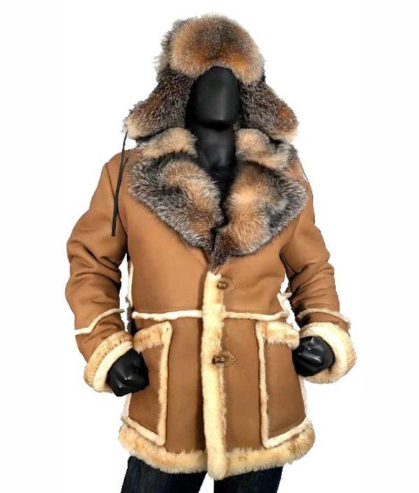 Calvin Sheepskin Shearling Toggled Leather Coat