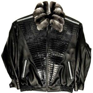 Alex Black Lambskin Chinchilla Collar Jacket