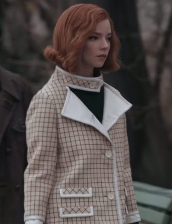 Anya Taylor Joy Checkered Coat