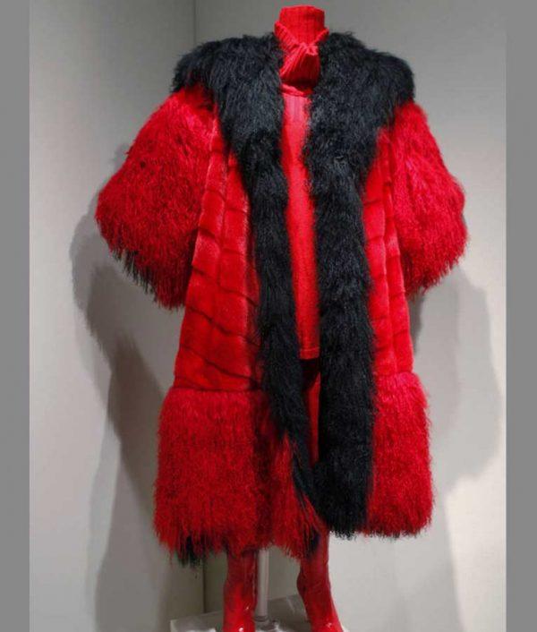 101 Dalmatians Cruella Deville Red And Black Long Fur Coat