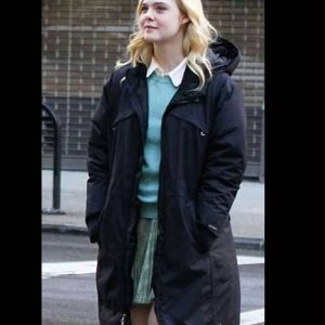 Ashleigh A Rainy Day In New York Elle Fanning Black Coat with Hood