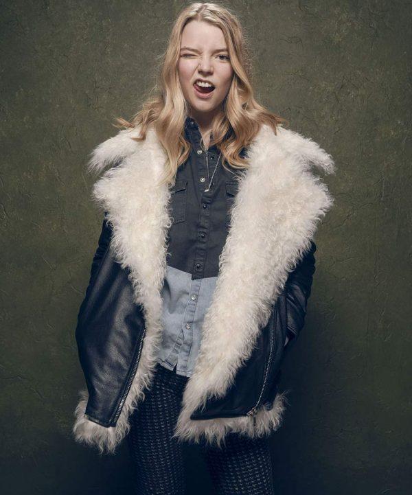 Ana Taylor Joy White Fur Black Leather Jacket