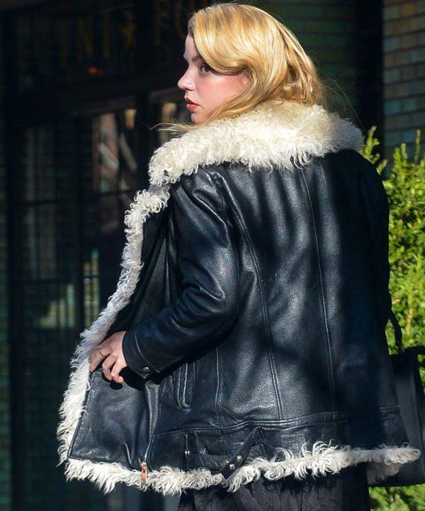 Ana Taylor Joy White Fur Leather Jacket