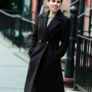 Zosia Mamet The Flight Attendant Annie Black Wool-blend Trench Coat
