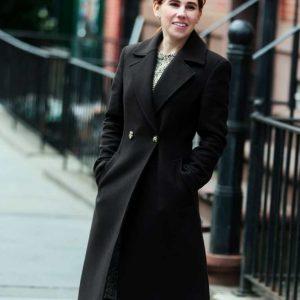 Zosia Mamet The Flight Attendant Annie Black Wool-blend Trench Coat