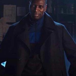 Omar Sy Arsene Lupin Black Trench Wool -Blend Coat