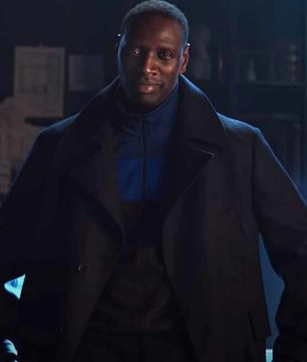 Omar Sy Arsene Lupin Black Trench Wool -Blend Coat