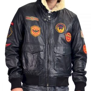 Flying Aviator Pilot B3 Bomber Leather Jacket with Patches