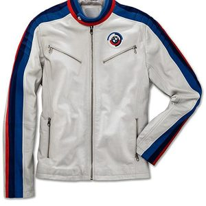 Mens Classical White BMW Motorcycle Leather Jacket