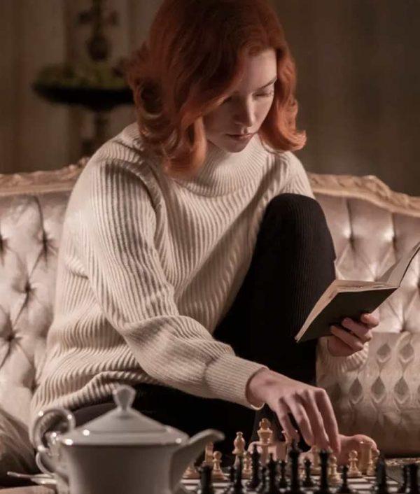 Anya Taylor Joy The Queen's Gambit Beth Harmon White Sweater