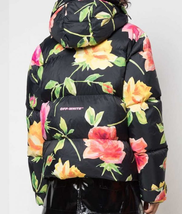 Lily Collins Black Floral Puffer Hooded Jacket