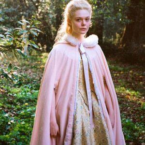 Elle Fanning The Great Catherine Pink Cloak with White Fur Trim