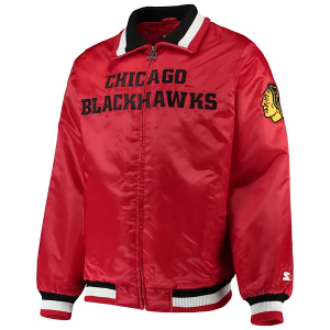 Captain II Satin Full-Zip Chicago Blackhawks Starter Jacket For Mens