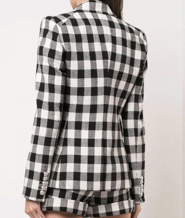 Emily In Paris Lily Collins Black & White Check Blazer