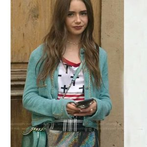 Lily Collins Blue Chain Trim Emily Cardigan