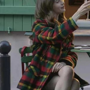 Lily Collins Emily In Paris Multi-Color Emily Cooper Checked Coat