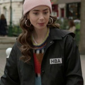 Lily Collins Emily In Paris HBA Logo Black Cropped Jacket
