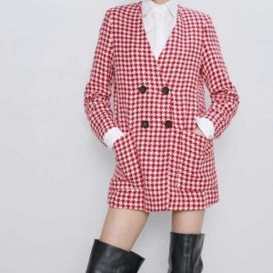 Emily Copper Emily In Paris Double-Breasted Lily Collins Houndstooth Coat