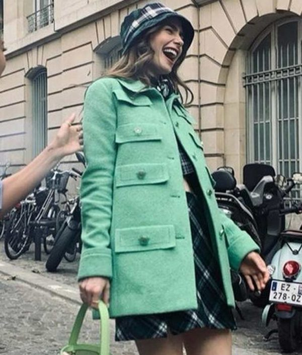 Emily In Paris Lily Collins Multi-Pocket Green Jacket