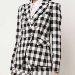Emily Cooper Tv Series Emily In Paris Lily Collins Black & White Check Blazer