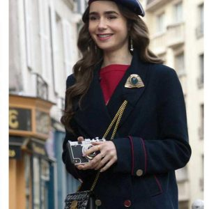 Lily Collins Emily In Paris Emily Cooper Blue Peacoat