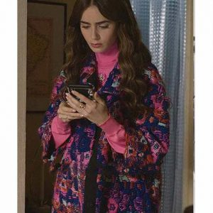 Lily Collins Emily In Paris Emily Cooper Blue Printed Floral Coat