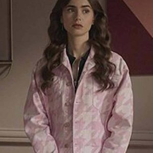 Lily Collins Pink Houndstooth Emily Cooper Emily In Paris Jacket