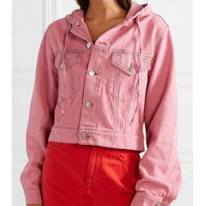 Pink Hooded Denim Jacket