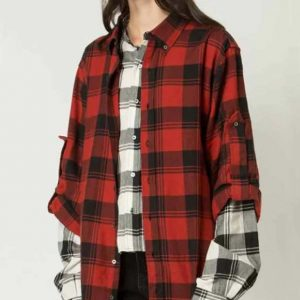 Emily Cooper Emily In Paris Lily Collins Red Plaid Shirt