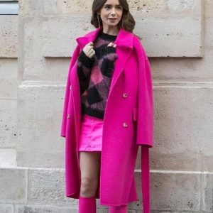 Lily Collins Emily in Paris Pink Trench Emily Coat