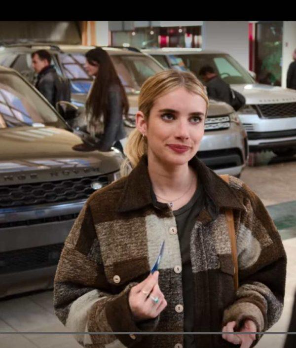 Emma Roberts Wool-blend Holidate 2020 Sloane Plaid Jacket
