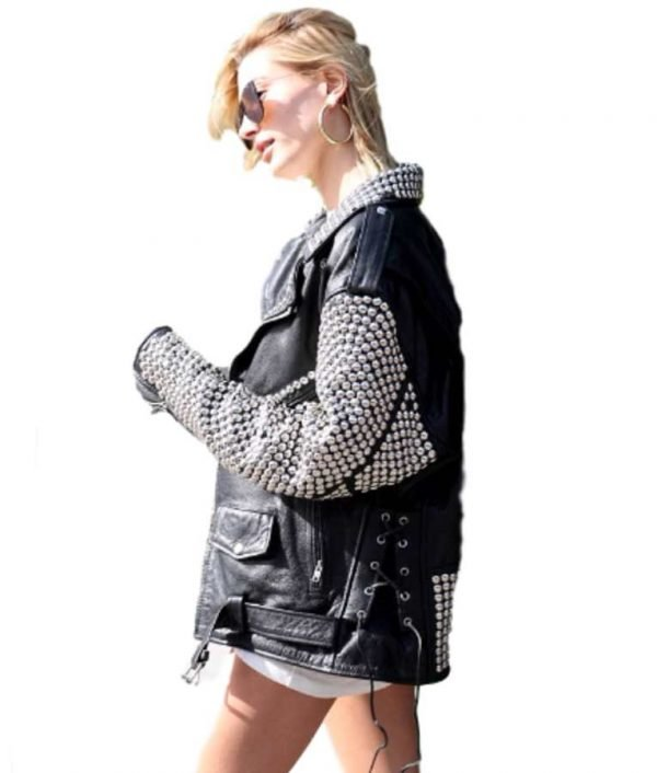 Hailey Baldwin Silver Studded Leather Jacket