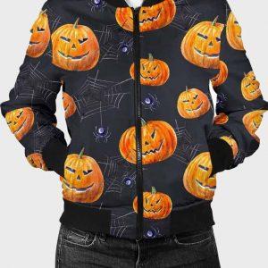 Halloween Printed Pumpkin Black Spider Bomber Jacket