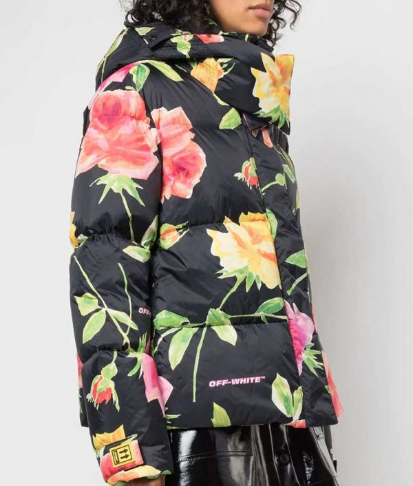 Lily Collins Emily In Paris Floral Puffer Jacket Emily Cooper