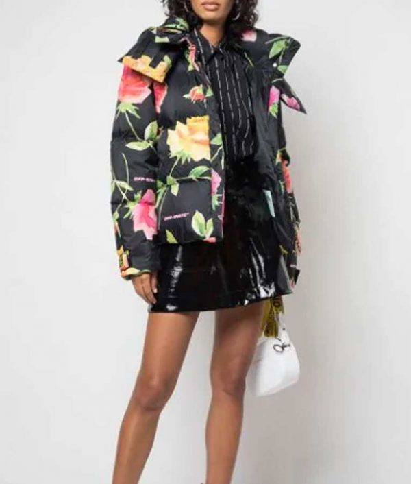 Lily Collins Emily In Paris Floral Puffer Jacket