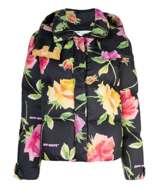 Black Floral Puffer Hooded Jacket Emily In Paris Lily Collins