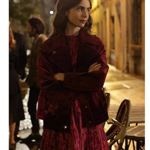 Lily Collins Emily In Paris Maroon Emily Cooper Velvet Jacket