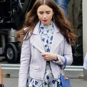 Emily Cooper Emily in Paris Lily Collins Motorcycle Leather Jacket