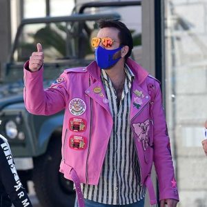 The Unbearable Weight of Massive Talent Nicolas Cage Pink Leather Jacket