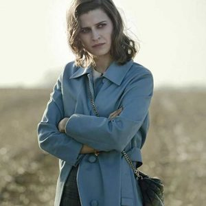 Emma Paetz Pennyworth Martha Kane Blue Trench Coat