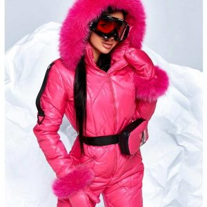 Women's Pink Snowboard Ski Puffer Hood Fur Jumpsuit
