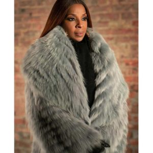 Mary J. Blige Power Book II Ghost Monet Grey Fur Long Coat