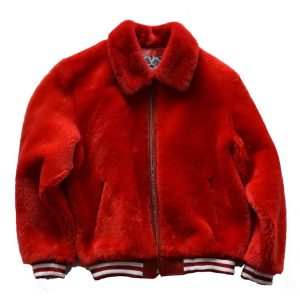 Red Fur Sheep Bomber Jacket